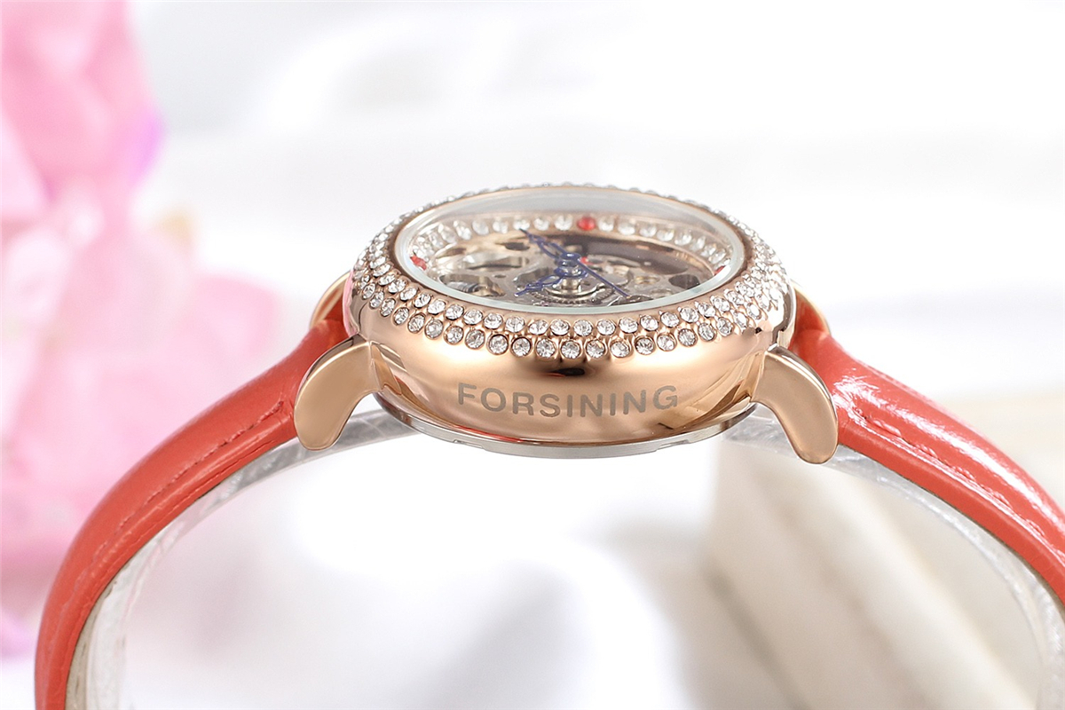 Forsining Women Watches Clock Female Top Brand Luxury Gold Clocks Leather Strap Wrist Automatic Mechanical Skeleton Ladies Watch