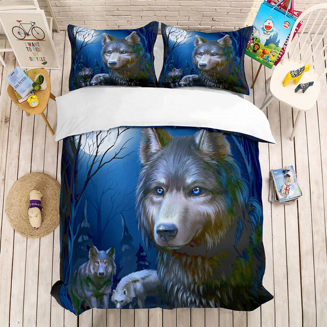 Fanaijia 3D Wolf Bed Comforter Luxury Bedding Set King Size Duvet Cover with Pillowcase Set Bed Boho Bed Linen