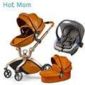 Hotmom 3 в 1 Кожаная спальная корзина коляска прогулочная может сидеть или лежать в сложенном виде Бесплатная доставка в Россию