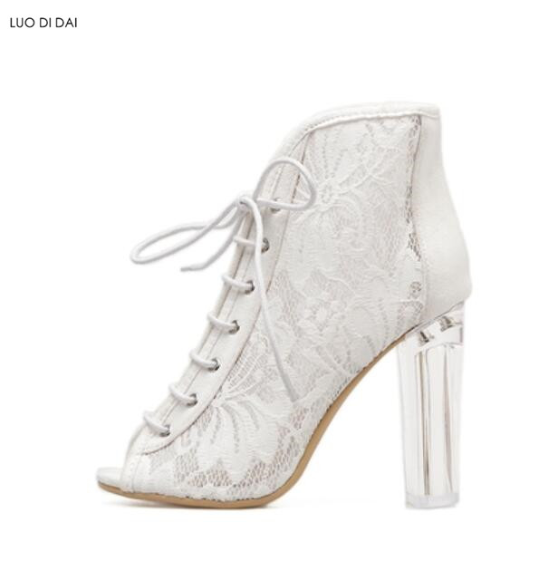 6247ecea8 2019 summer ankle boots fashion lace up boots white lace booties Clear heel  party shoes peep