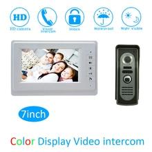 (1 Set) Smart Home Door Access Color Monitor Intercom System HD Camera 7″ Video Door Phone Waterproof Doorbell Calling System