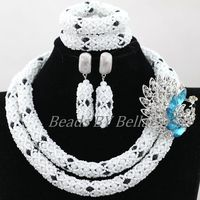 2017 Latest Nigerian Party Beads Women Choker Necklace Lace Jewelry Set White Crystal African Jewelry Sets Free Shipping ABK917