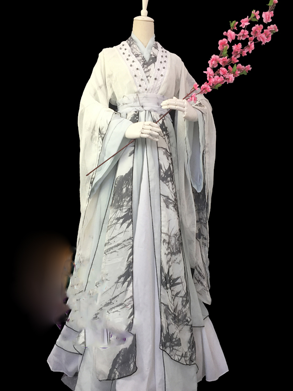 Duan Yu Bamboo Print Male Costume Hanfu Cos RunYu  Mei Changsu Bai ZiHua For TV Play Anime The Demi-Gods And Semi-Devils Hanfu