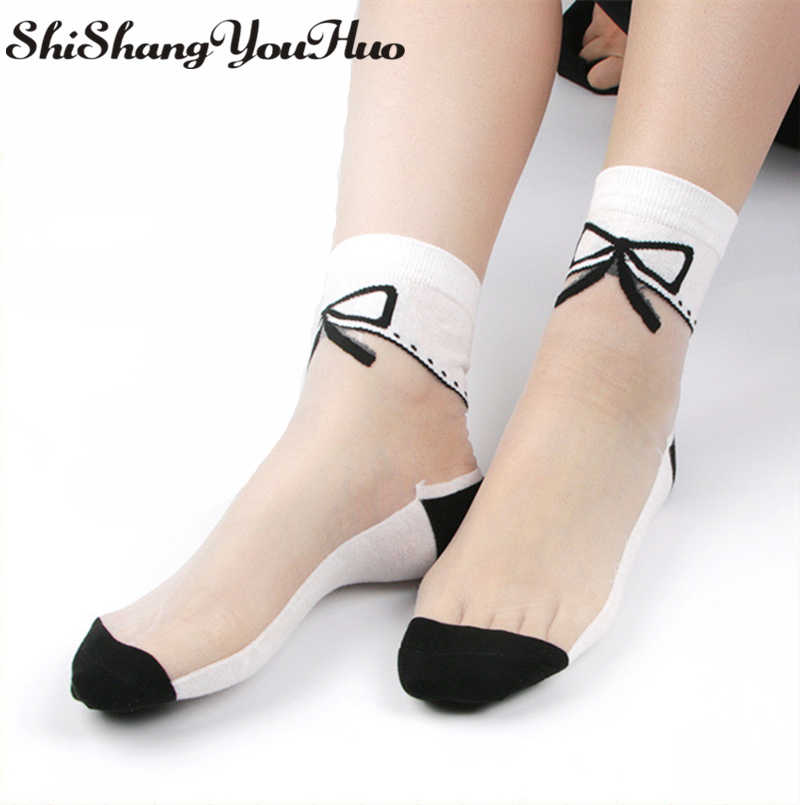 shishangyouhuo 4pcs=2pairs/lot Comfy Sheer Silk Summer Ankle Transparent Crystal Lace Short Women Calcetines Socks Meias CW16
