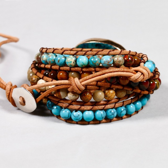 Natural Stone Weave Multi-layer Leather Bracelet
