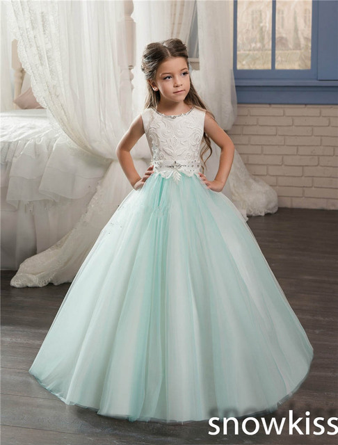 2018 Mint And White Flower Girl Dresses With Beaded Tulle Ball Gown
