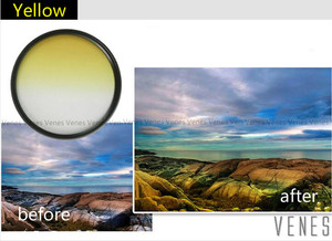 Image 3 - Venes 62mm Gradual Blue or Green or Yellow or Red or orange  Lens Filter Camera Accessory