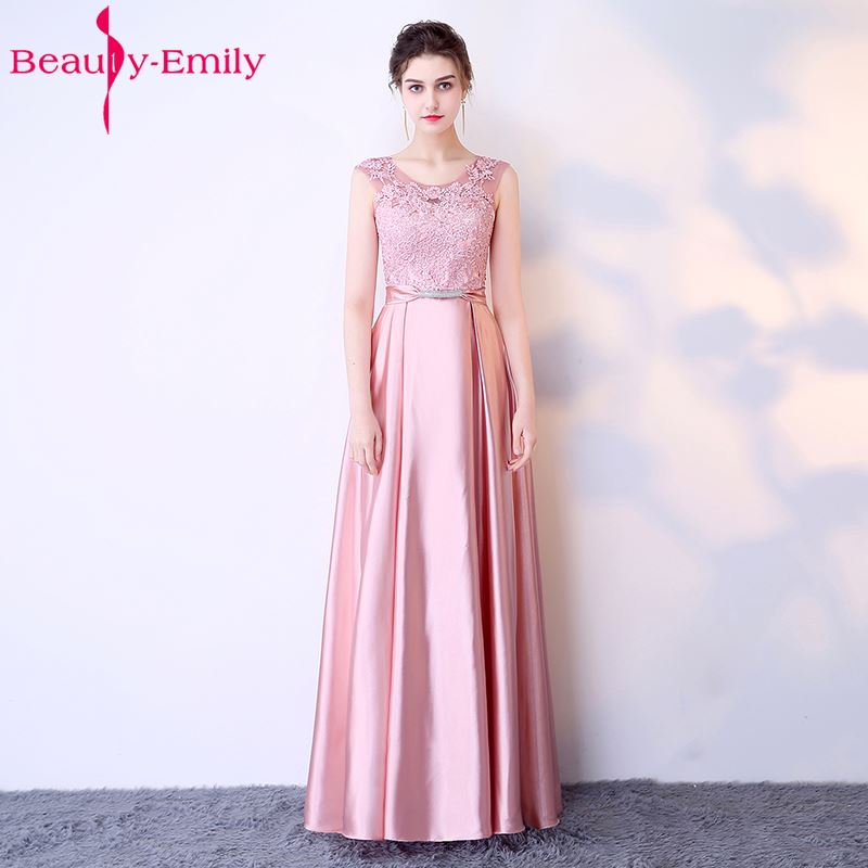 Beauty Emily Long A line Beads Lace Dark Pink   Bridesmaid     Dresses   2018 Women Wedding Party Prom Women   Dresses   Free Shipping