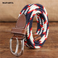 Narrow version 2.5CM elastic stretch canvas belt pin buckle canvas belt women casual woven canvas belt
