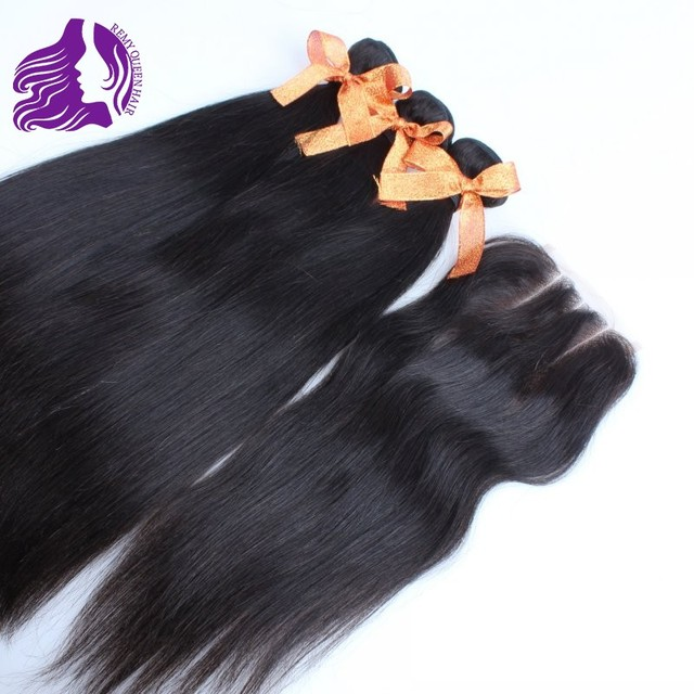 REMY Queen Hair Brazilian Virgin Hair Straight 3pcs Human Hair Weave with 1pc 3-part Lace Top closure  Grade 7a 4pcs lot