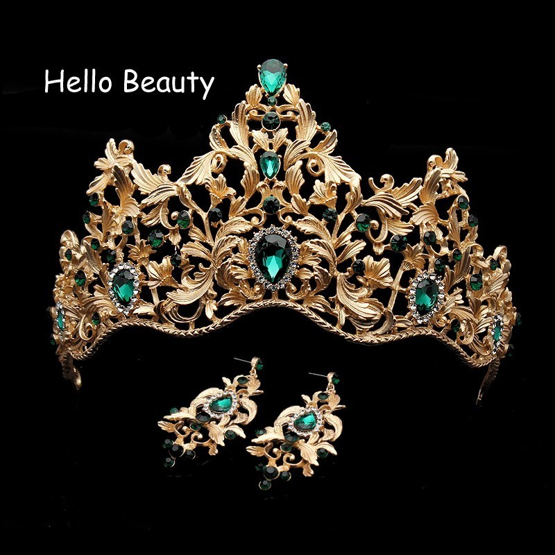 Baroque Vintage Green Rhinestone Wedding Bridal Princess Tiara And Crown Crystal Hair Accessories Queen Head Jewelry For Bride vintage gold round crystal tiara baroque rhinestones princess queen crown for bride hair accessories wedding crown hair jewelry