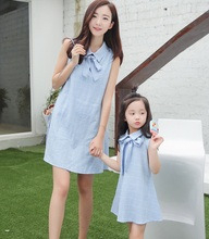 Bow Neck Mother Daughter Dresses Family Matching Outfits Look Mommy and Me Clothes Mom Mum Mama and Daughter Dresses Clothing family matching outfits mom mommy and me clothes print black and white splice mother daughter dresses family clothing plus size
