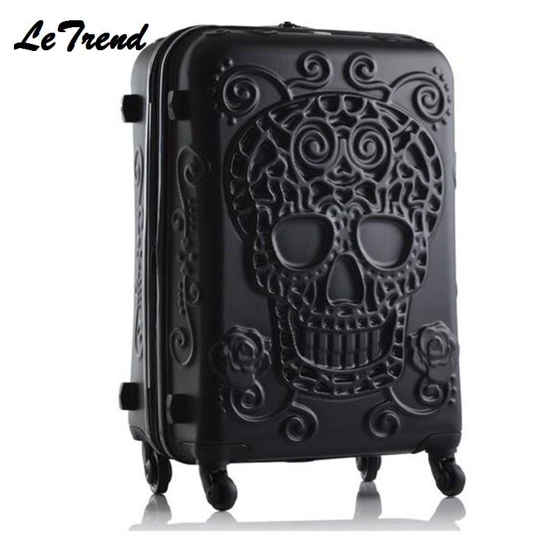 New Fashion 19/24/28inch Britain 3D Skull Print Rolling Luggage Women Trolley 19 inch Boarding Box Suitcases Travel Bag Trunk fashion sexy 28inch 100
