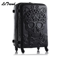 New Fashion 19/24/28inch Britain 3D Skull Print Rolling Luggage Women Trolley 19 inch Boarding Box Suitcases Travel Bag Trunk