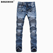Men s Fashion Brand Designer Ripped Biker Jeans Men Distressed Moto Denim Joggers Washed Pleated Jean