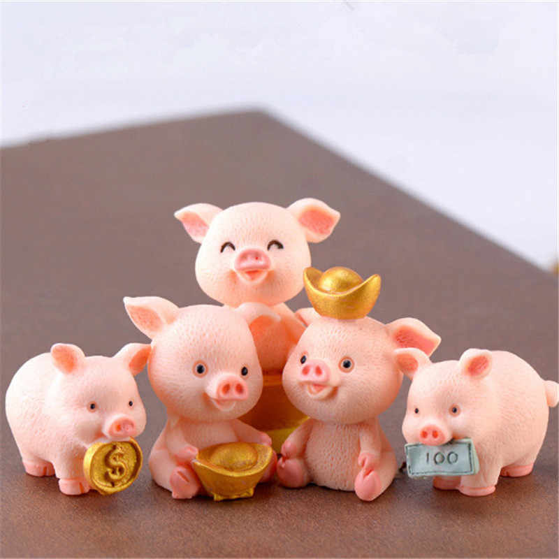 Home Decoratie Miniatuur Varken Cijfers Aborable Dier Speelgoed Geluk Piggies Cake Topper Decoraties Hars DIY Craft Project Decor