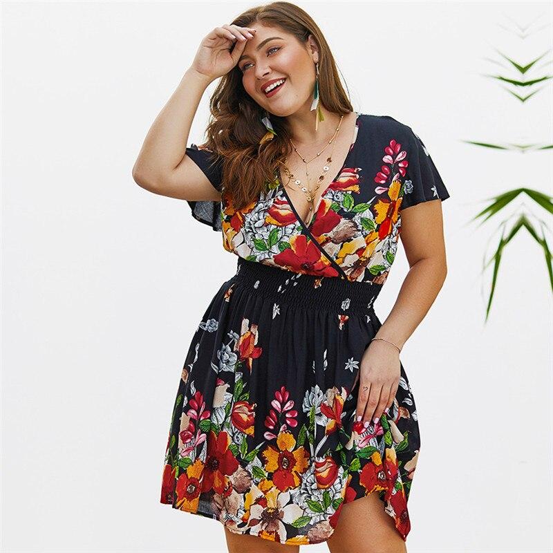 Women's Big Plus Size Dress Paisley Floral Print Ladies Large Casual Beach Dresses Bohemian Sundress Vestido Short 3XL 4XL