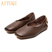 AIYUQI women flat shoes genuine leather spring 2019 new Vintage soft bottom mother shoes,Flat casual fashion