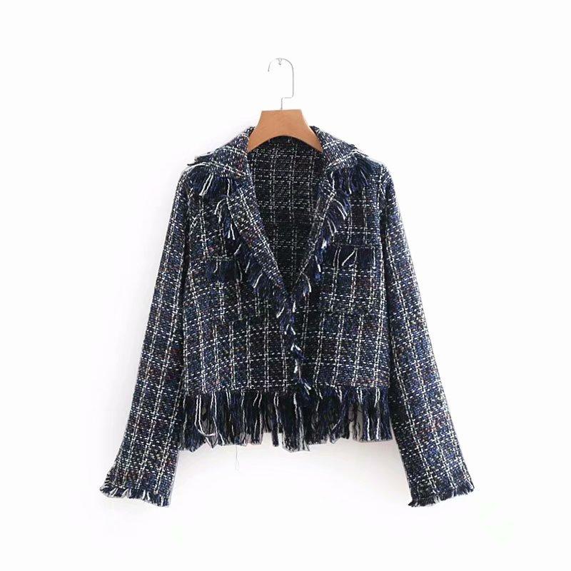 Vogue Elegant Tassel Blazer Women Autumn Plaid Coats And Jacket Woman Work Wear Lady Coat  Jaqueta Chaqueta Mujer