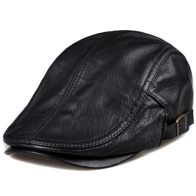 Spring Unisex Genuine Leather Duckbill Boina Thin Berets Hats For Men Women  Leisure Black Brown 54-61cm Fitted Cabbie Bonnet 50533f24e8c