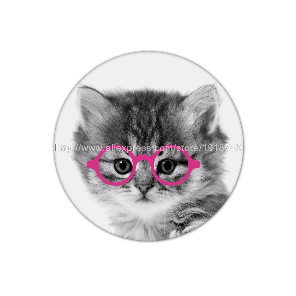 4pcs/set Cute animal cat printed custom Table Round Cup Mat Coffee Drink Placemat Wholesale personalized cork cup coasters