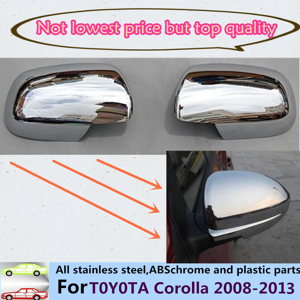 Top quality for toyota corolla 2011 2013 abs chrome car sticks rear view rearview side glass mirror cover trim frame 2pcs