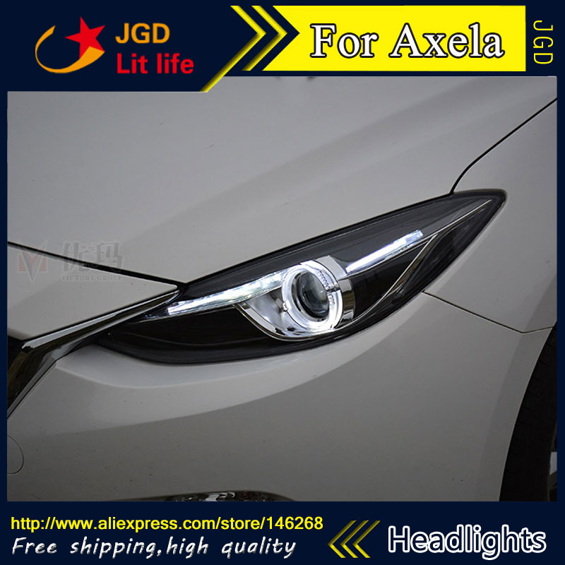 Free shipping ! Car styling LED HID Rio LED headlights Head Lamp case for Mazda Mazda3 Axela 2014 2015 Bi-Xenon Lens low beam