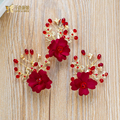 Fashion red flower hargrips women hair clips crystal girl hairwear handmade pins bride fascinator wedding accessories danmeng