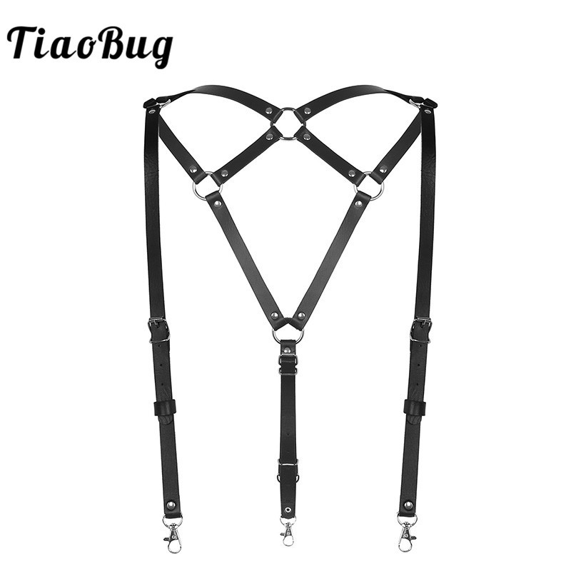 TiaoBug Fashion Unisex Punk PU Leather Body Chest Harness Braces Shirt Suspenders Men Women Belt Metal O-Ring Sexy Club Costumes