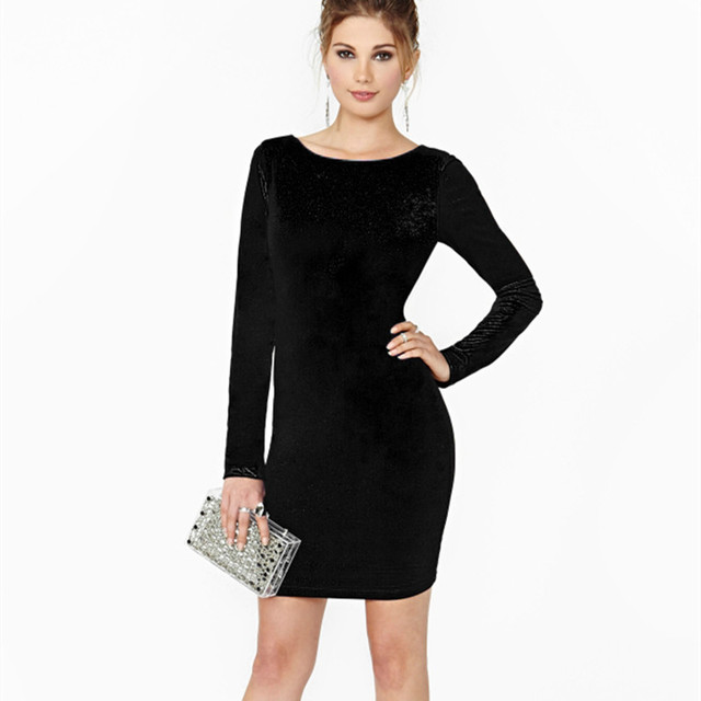 Spring Fashion Long Sleeve Women Y Velvet Dress Vintage Warm Winter Party Dresses Mini Pencil Club