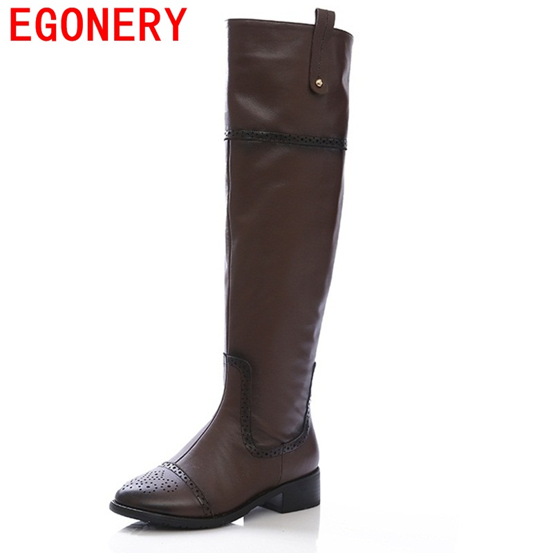 ФОТО EGONERY shoes 2017 women over the knee boots modern black round toe low heels side zipper european and american style boots