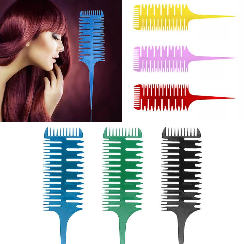 6 spalvų 3 krypčių sekcija Išryškinkite šukos profesionalą Lengva naudoti pynimo audimo šukos plaukų dažų stiliaus įrankis salono karštam pardavimui