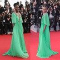 68o Cannes Filme Verde Profundo Decote Em V Meia Manga Flor Ruched Até O Chão Longos Vestidos Da Celebridade