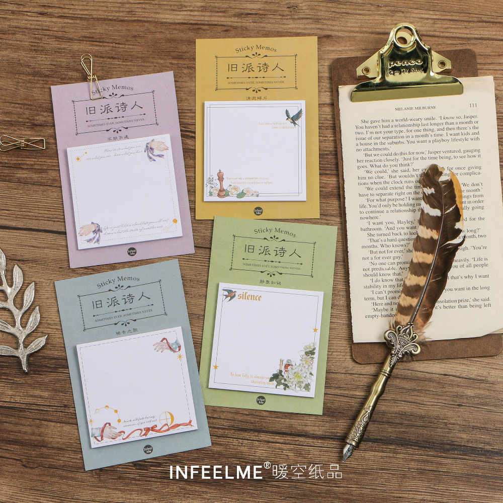 AD01 30 pages/pack Romantic Flower & Bird Memo Pads Sticky Notes Post it Planner Writing Sticker Student Stationery Notepad