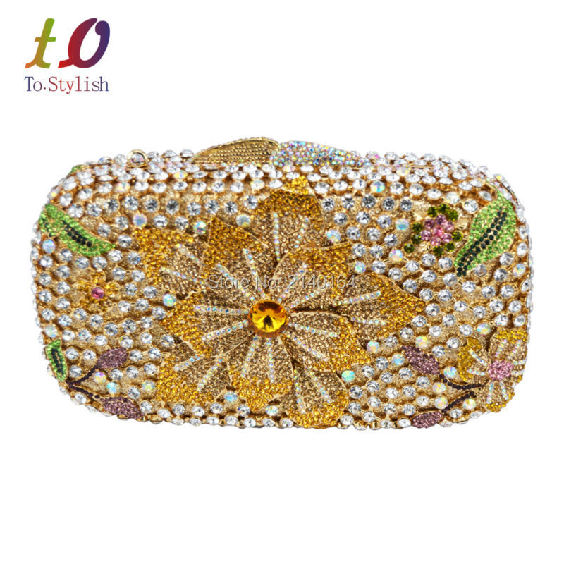 Stylish Evening Bag for Lady Luxury Diamond Crystal Evening Clutch Bag Flower Fashion Clutch Party Purse Gold Wedding Bags 88185 aidocrystal heart shape factory direct sell fashion woman diamond clutch for lady