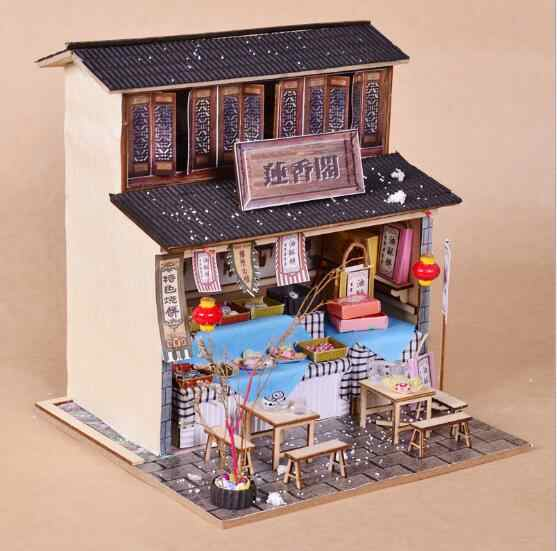 Luxury lights House puzzle model kits DIY Chinese ancient architecture Creative Christmas gifts Include detailed English manuals
