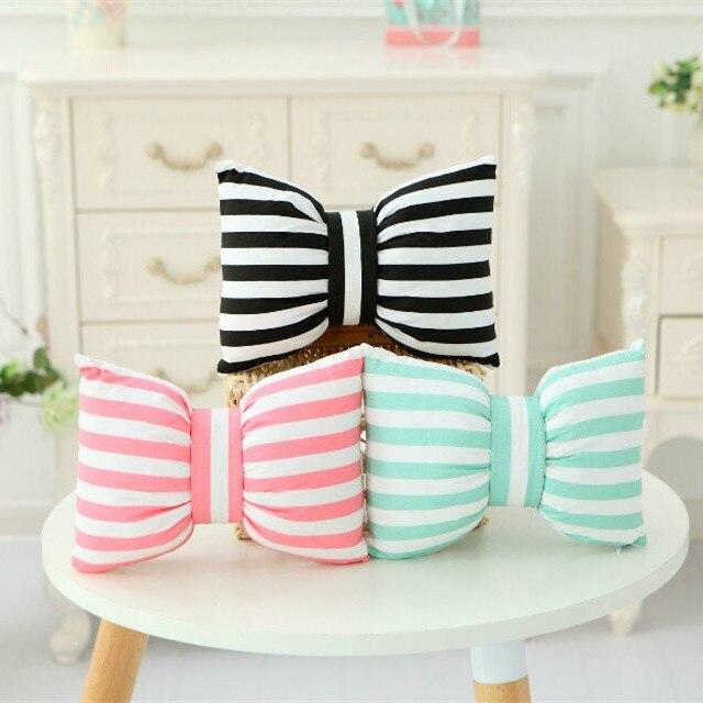 2PCS Cute Bow Decorative <font><b>Cushion</b></font> Throw Strip Pillows <font><b>Home</b></font> Decor Sofa Soft Polka Dot Pilow Hot Sale Polyester Stuffed Dolls