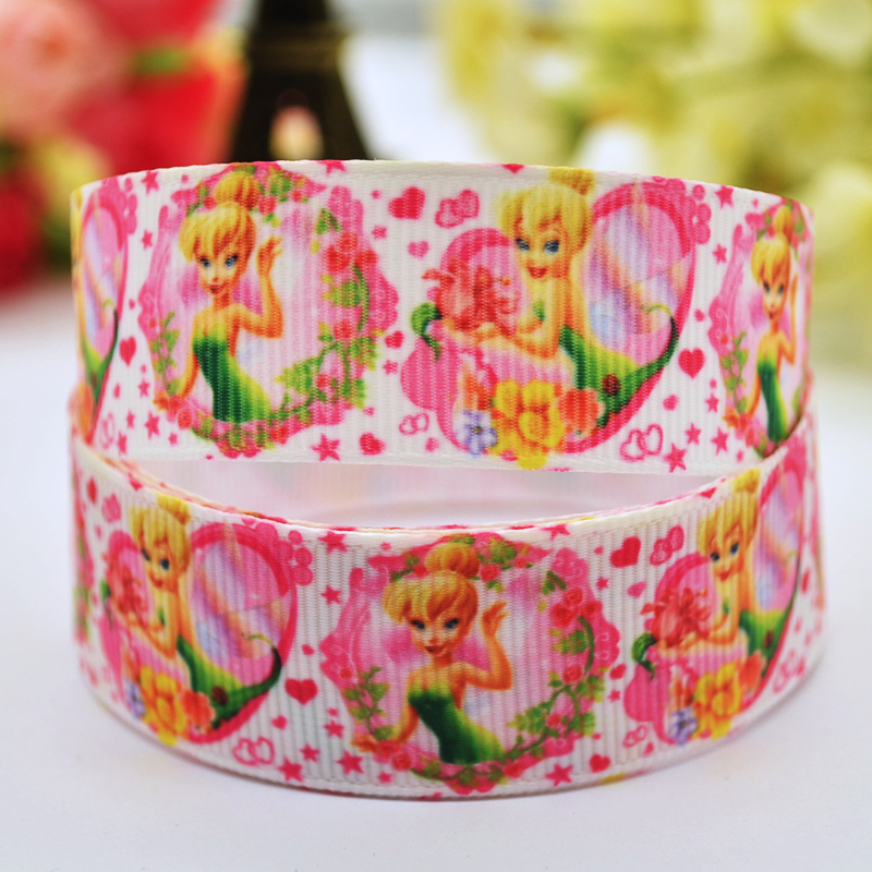 7/8 (22mm) Tinker Bell fairy Cartoon Character printed Grosgrain Ribbon party decoration satin ribbons X-00015 OEM 10 Yards