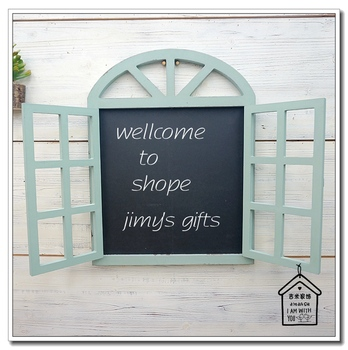 zakka grocery retro blue timber fake window Mural blackboard creative personality fashion shop window hangings