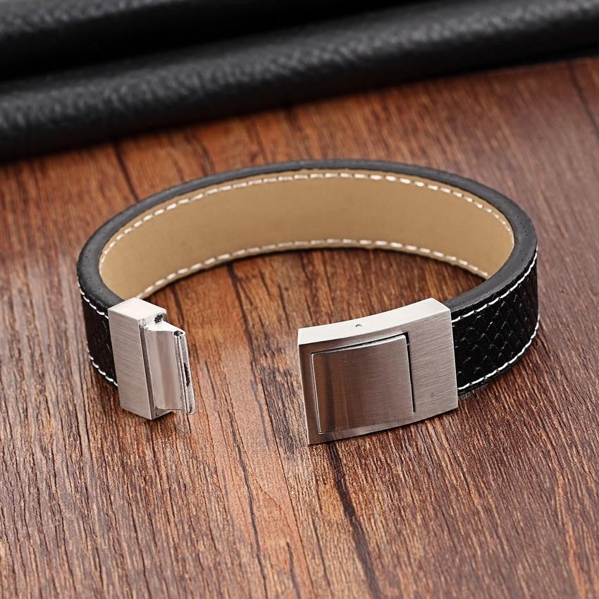 Chain Bracelet Men Magnet Skull Gold Stainless Steel Rope Bracelets Genuine Leather Bracelets for women 19cm 21cm Cuff Bracelets