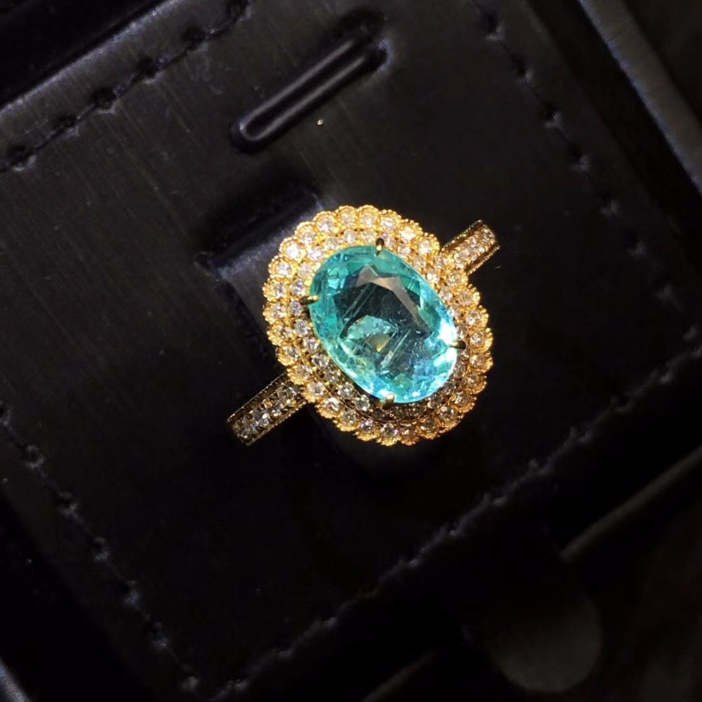 Fine Jewelry AGL Pure 18 K Gold Jewelry Natural Green Blue Paraiba Tourmaline Gemstones 1.66ct Female Rings for women Fine Ring