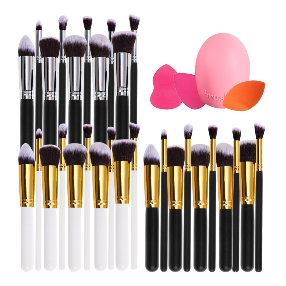 10Pcs Makeup Brushes+ Water Sponge Puff + Brushegg +Canvas Bag Cosmetic Make Up Brushes Set candy color calabash shaped cosmetic makeup cotton pads sponge puff pink