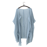Sacos tipo Cárdigan de verano de algodón y lino lisos para mujer, Chaquetas largas con protección solar, disponible en talles grandes