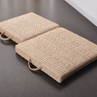 FREE SHIPPING 40cm 50cm Straw Braid Futon Portable Square Meditation Cushion Tatami Thickening Mat 0428