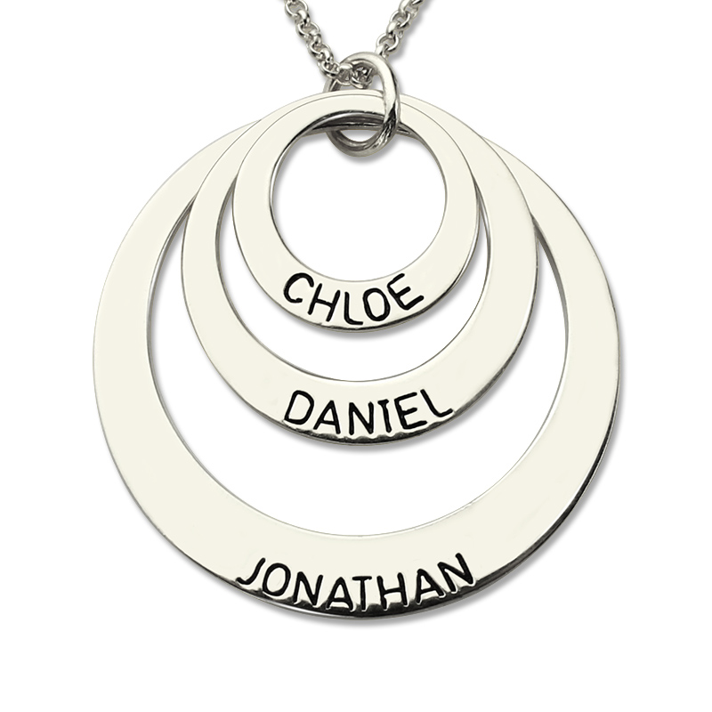 AILIN Engraved Three Disc Necklace Handmade Disc Necklace with Kids Name Personalized Mother Jewelry Nameplate Necklace