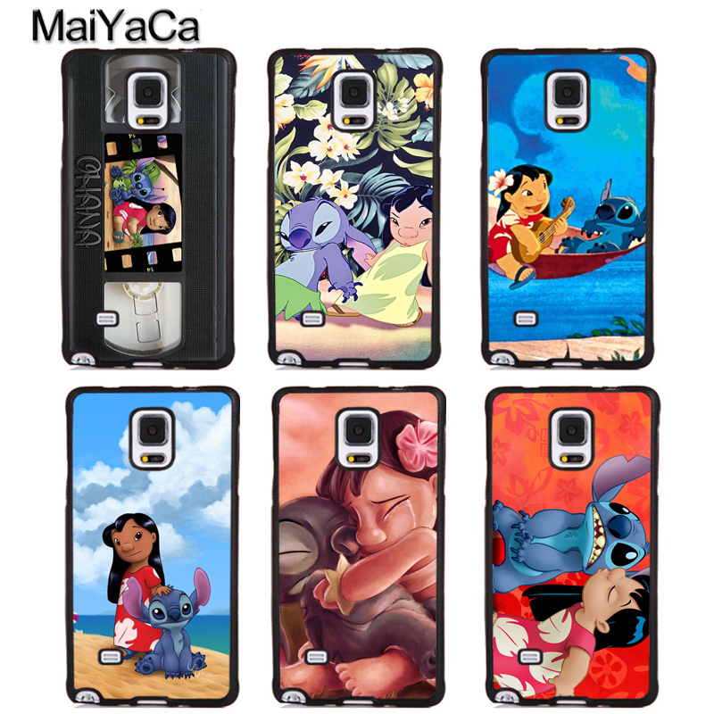MaiYaCa LILO AND STITCH OHANA Rubber Skin Mobile Phone Cover For Samsung Galaxy S5 S6 S7 S8 S9 edge plus Note 4 5 8 Back Case