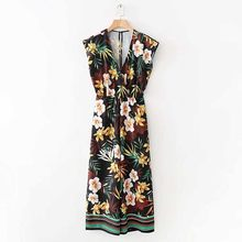 2c17375435 FIRSTTO Retro Cross V-Neck Sleeveless Leaves Floral Jumpsuit Hollow Out Slit  Back Wide Leg Full Length Pants Romper Overalls