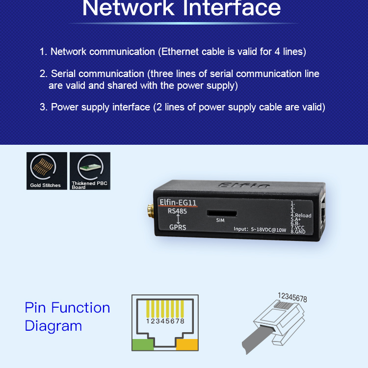 Gprs Serial Server Rs485 Serial Port To Wifi Gsm Gprs Converter Module Network Device Support Modbus Tcp Protocol Elfin-eg11 222 Computer Cables & Connectors