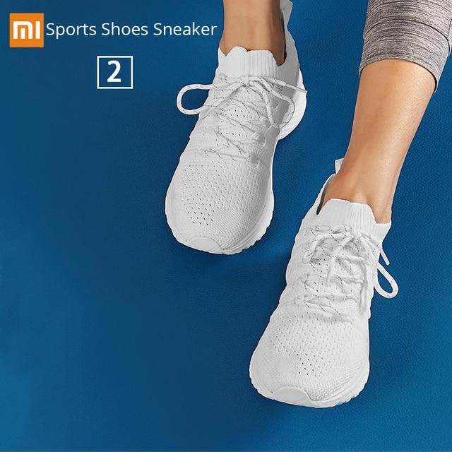 Original Xiaomi Mijia Sports ShoesSneaker 2 Uni-Mould Techinique New Fishbone Lock System Elastic Knitting Vamp Smart Sports