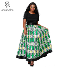 Shenbolen African fashion skirt for women ankara print Wax cotton Sexy Long Skirt